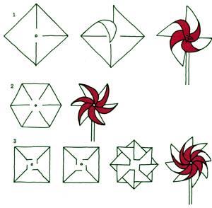 Оригами вертушка схема